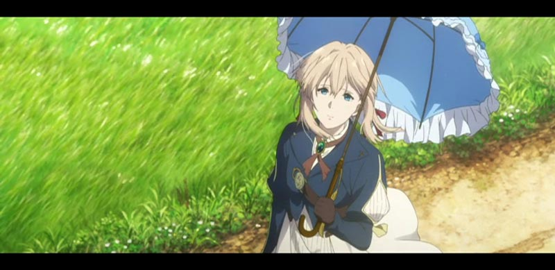 日傘をさすヴァイオレット